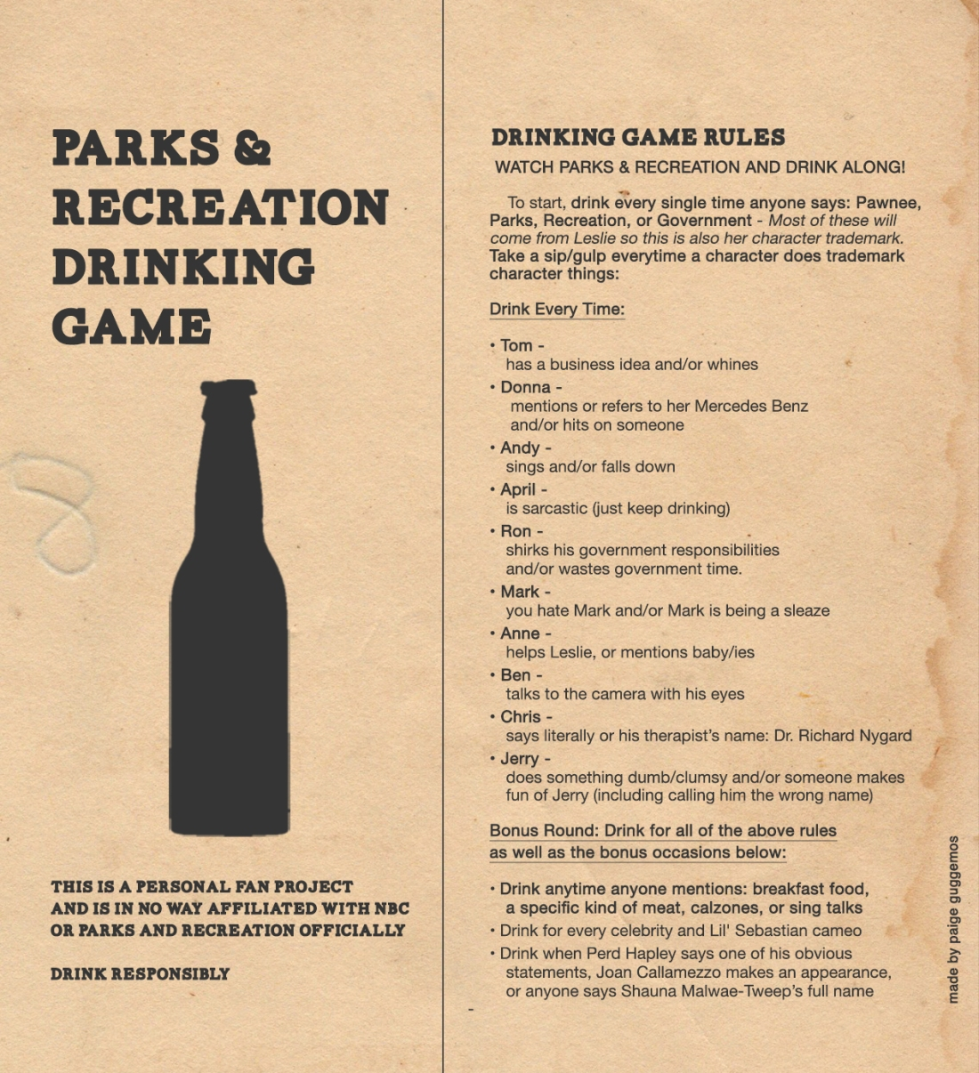 Drinking and Laughing for Everyone! This game brings it. Parks & Recreation Fan Tribute Game. Free to download print for non-commericial use.